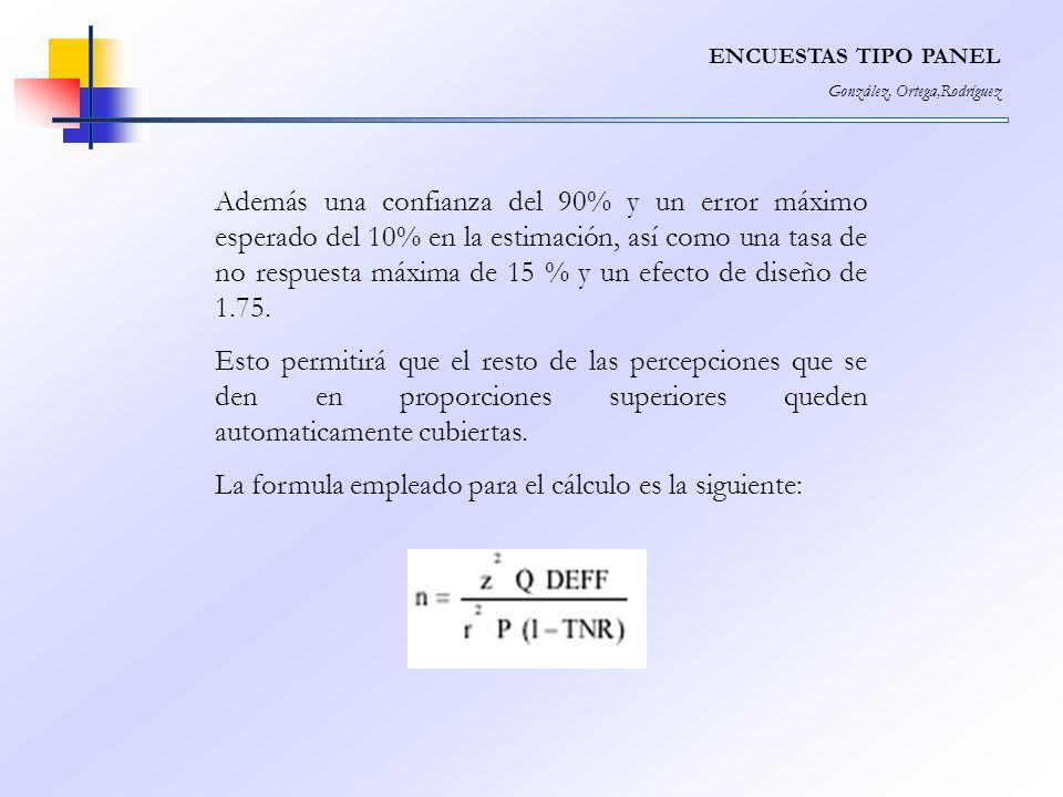 La formula empleado para el cálculo es la siguiente: