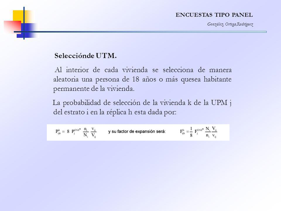 ENCUESTAS TIPO PANEL González, Ortega,Rodríguez. Selecciónde UTM.