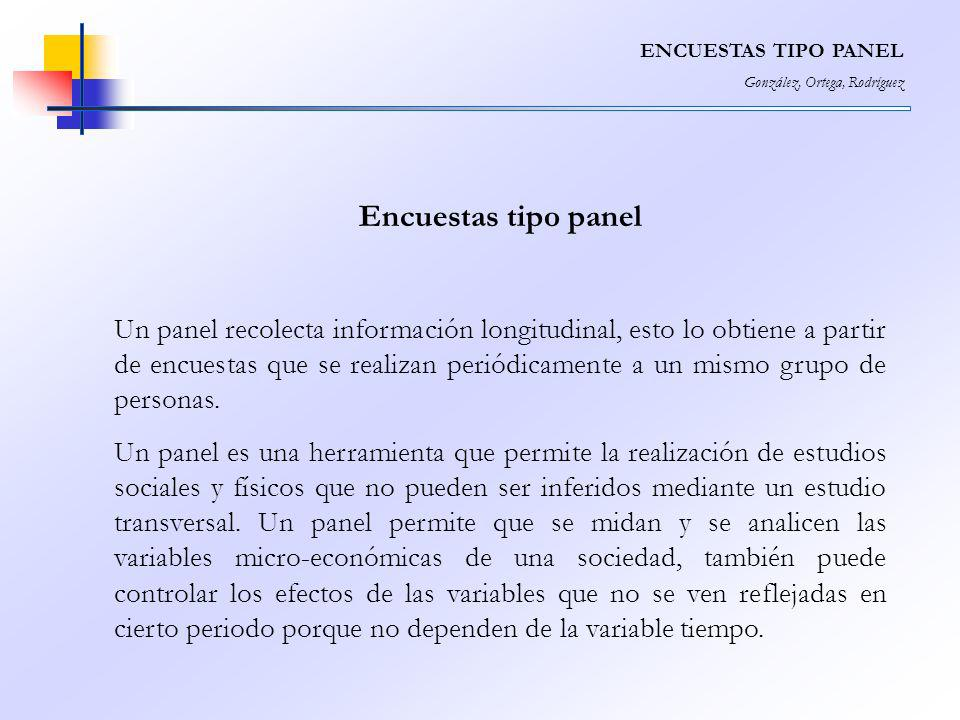 ENCUESTAS TIPO PANEL González, Ortega, Rodríguez. Encuestas tipo panel.