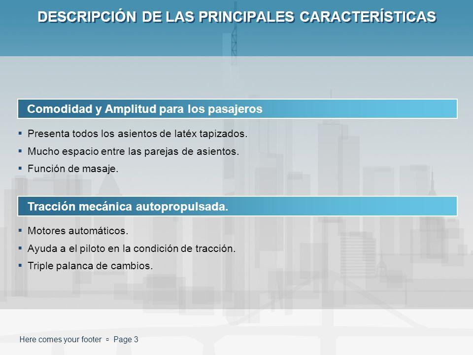 DESCRIPCIÓN DE LAS PRINCIPALES CARACTERÍSTICAS