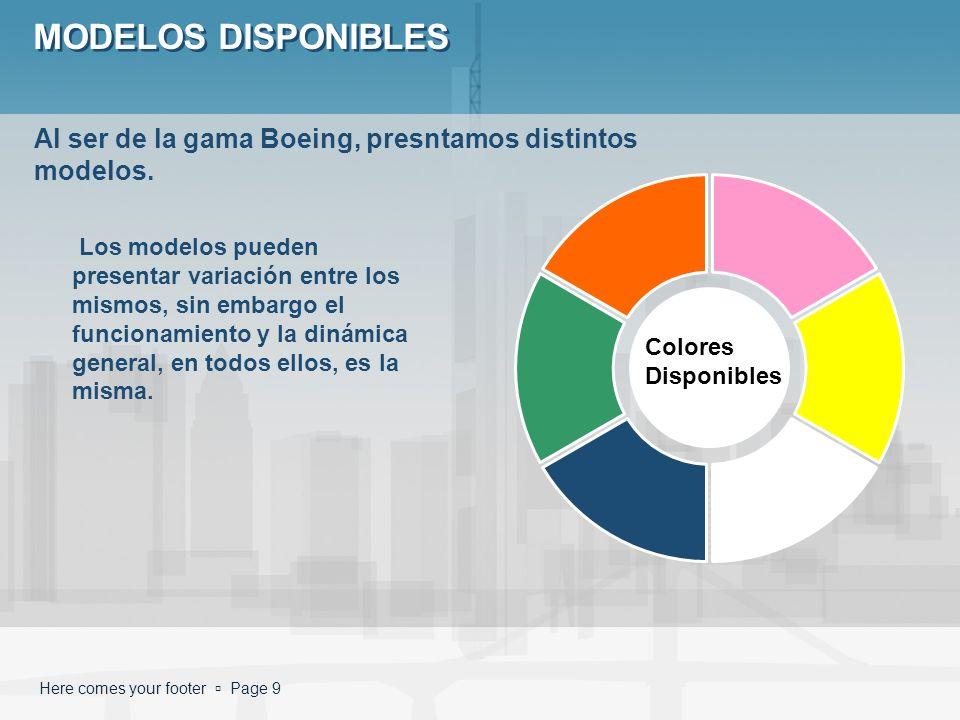 MODELOS DISPONIBLES Al ser de la gama Boeing, presntamos distintos modelos.