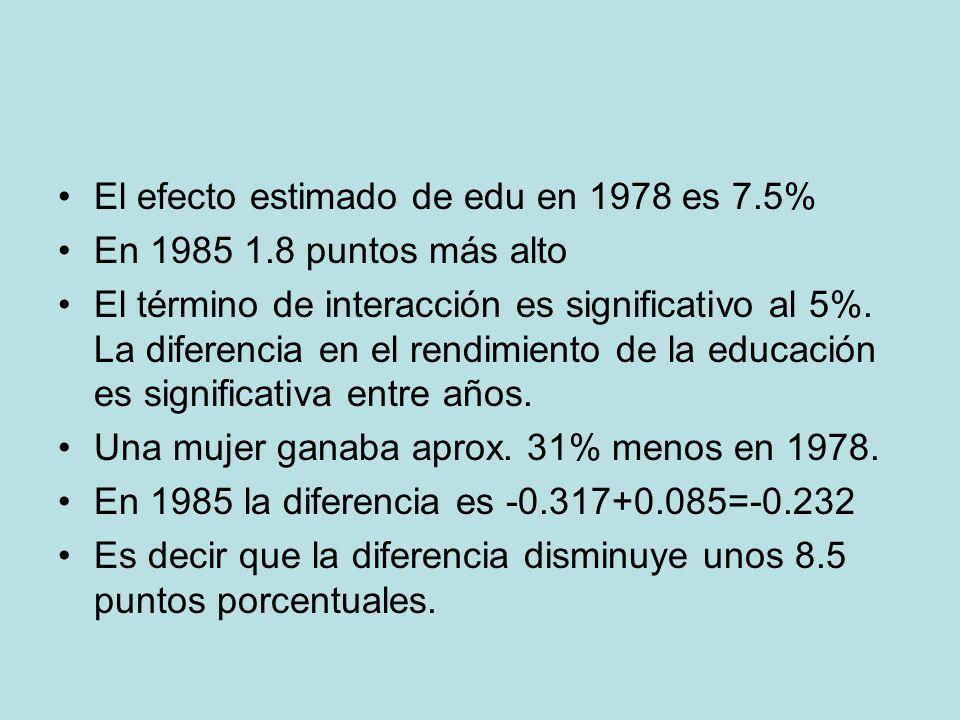 El efecto estimado de edu en 1978 es 7.5%