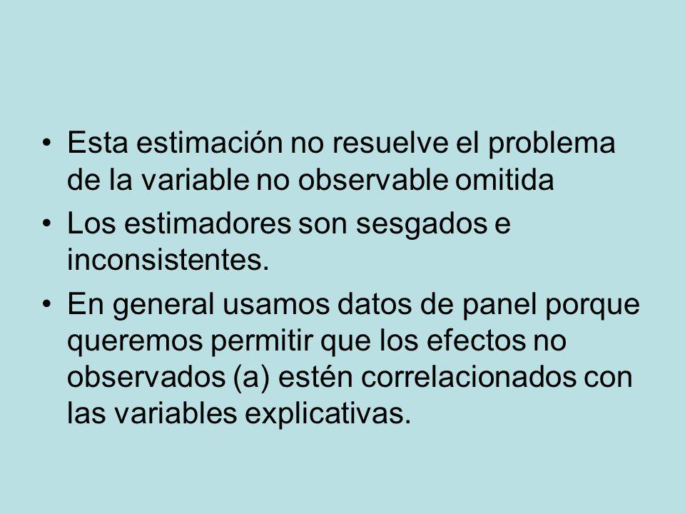Esta estimación no resuelve el problema de la variable no observable omitida