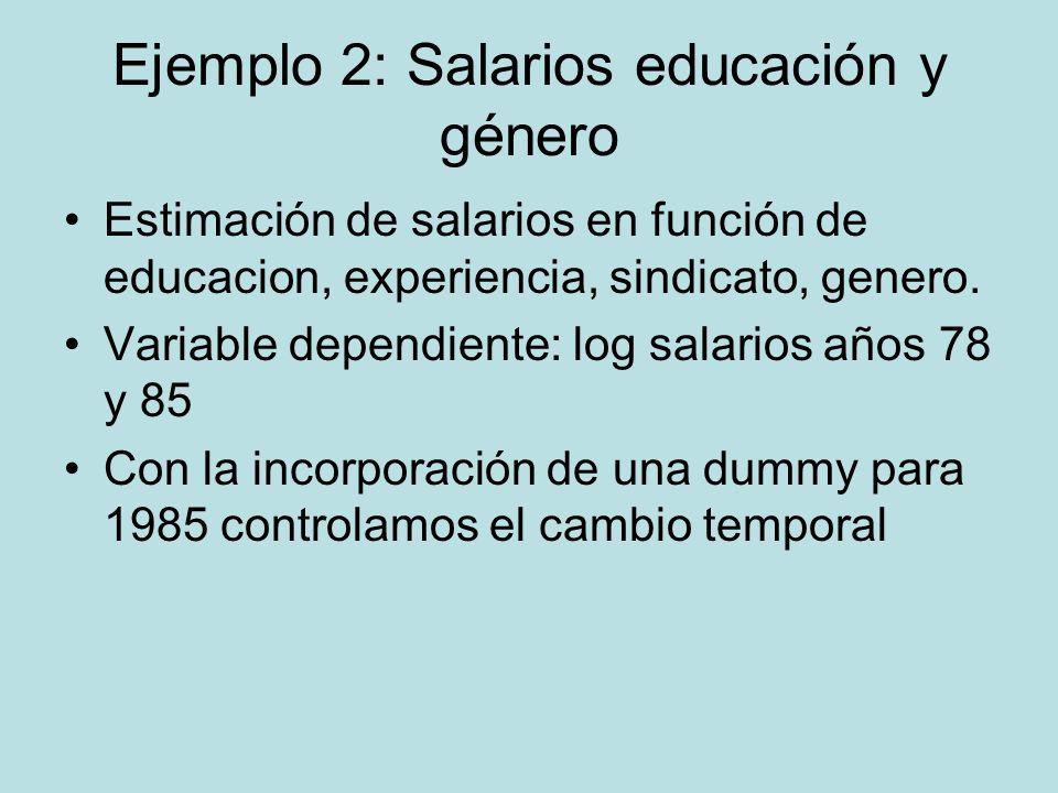 Ejemplo 2: Salarios educación y género