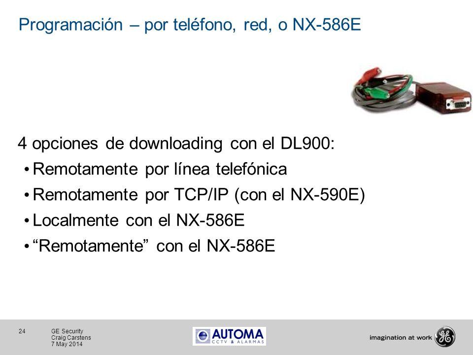 Programación – por teléfono, red, o NX-586E