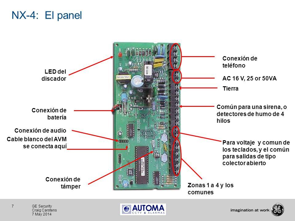NX-4: El panel Conexión de teléfono LED del discador