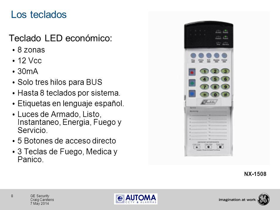 Los teclados Teclado LED económico: 8 zonas 12 Vcc 30mA