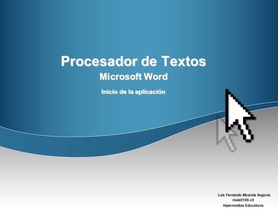 Microsoft Word Inicio de la aplicación