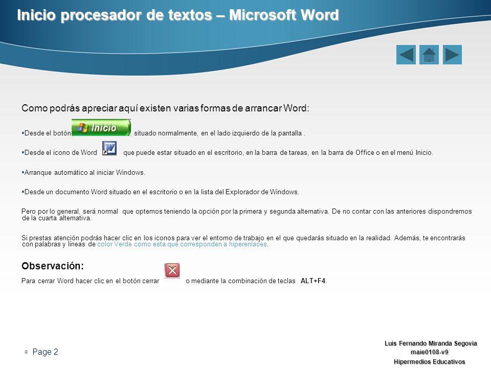 Inicio procesador de textos – Microsoft Word