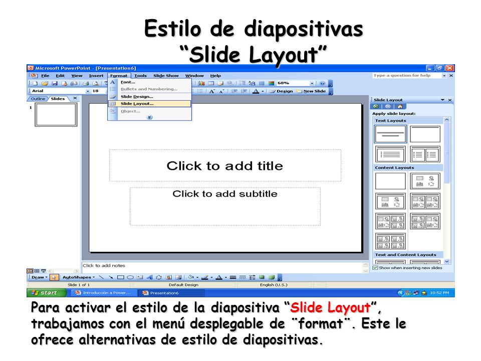 Estilo de diapositivas Slide Layout