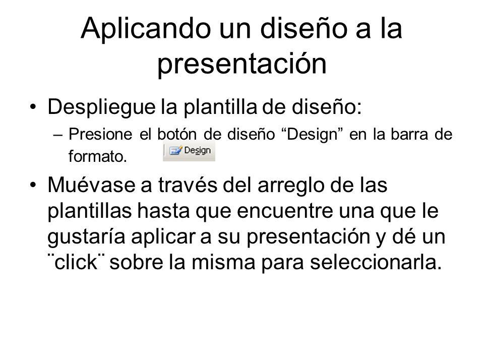 Aplicando un diseño a la presentación