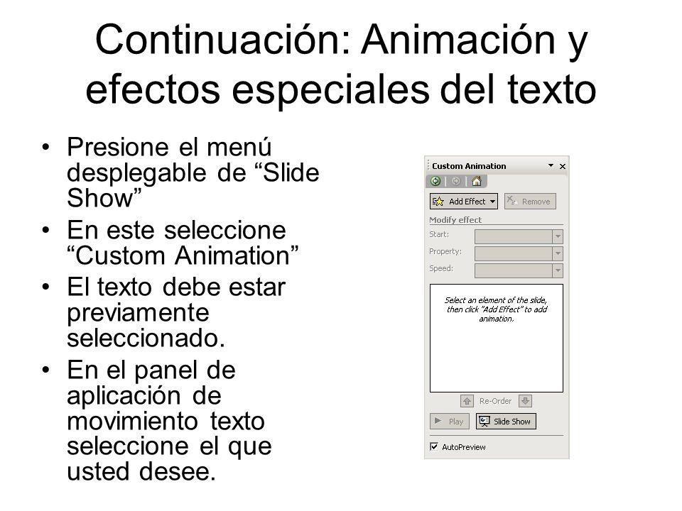 Continuación: Animación y efectos especiales del texto