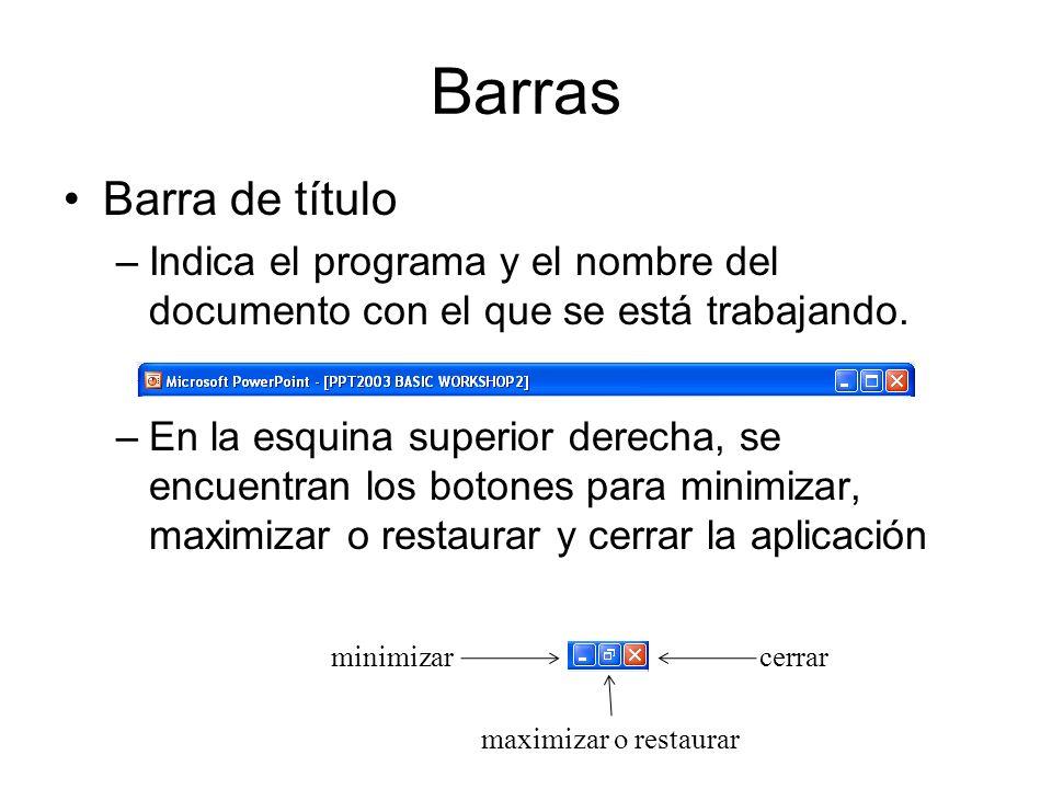 Barras Barra de título. Indica el programa y el nombre del documento con el que se está trabajando.