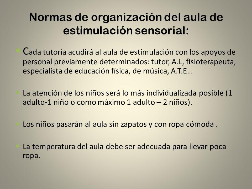 Normas de organización del aula de estimulación sensorial: