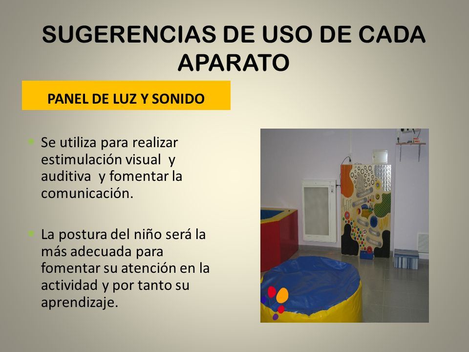 SUGERENCIAS DE USO DE CADA APARATO