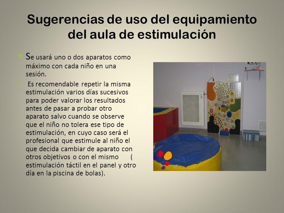 Sugerencias de uso del equipamiento del aula de estimulación