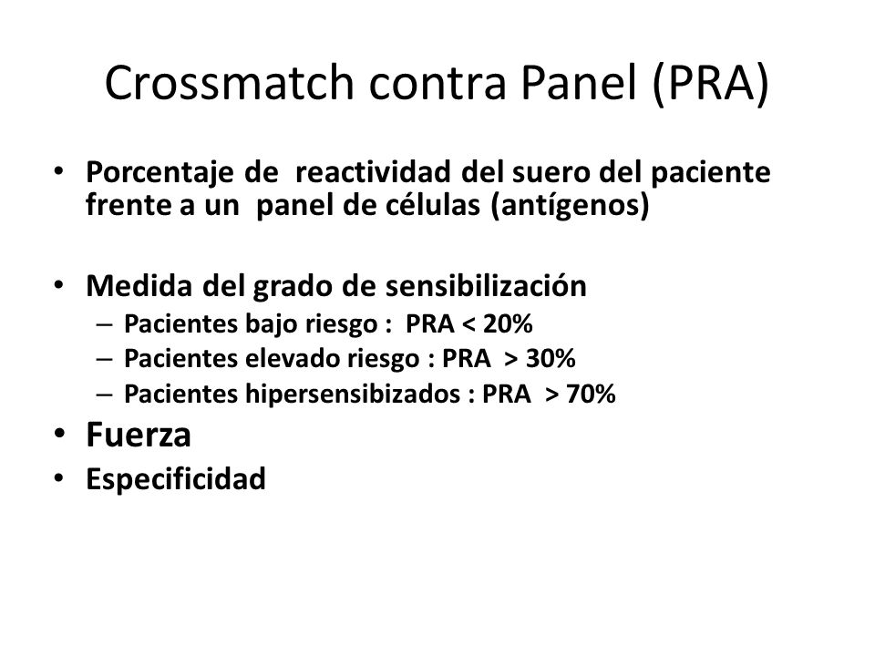 Crossmatch contra Panel (PRA)