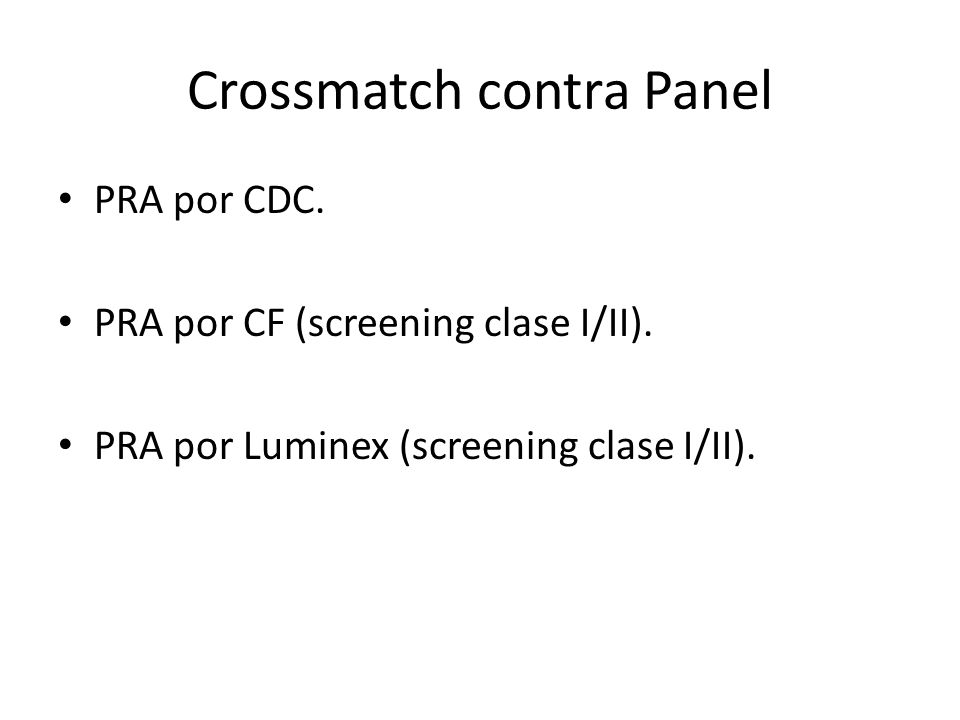 Crossmatch contra Panel