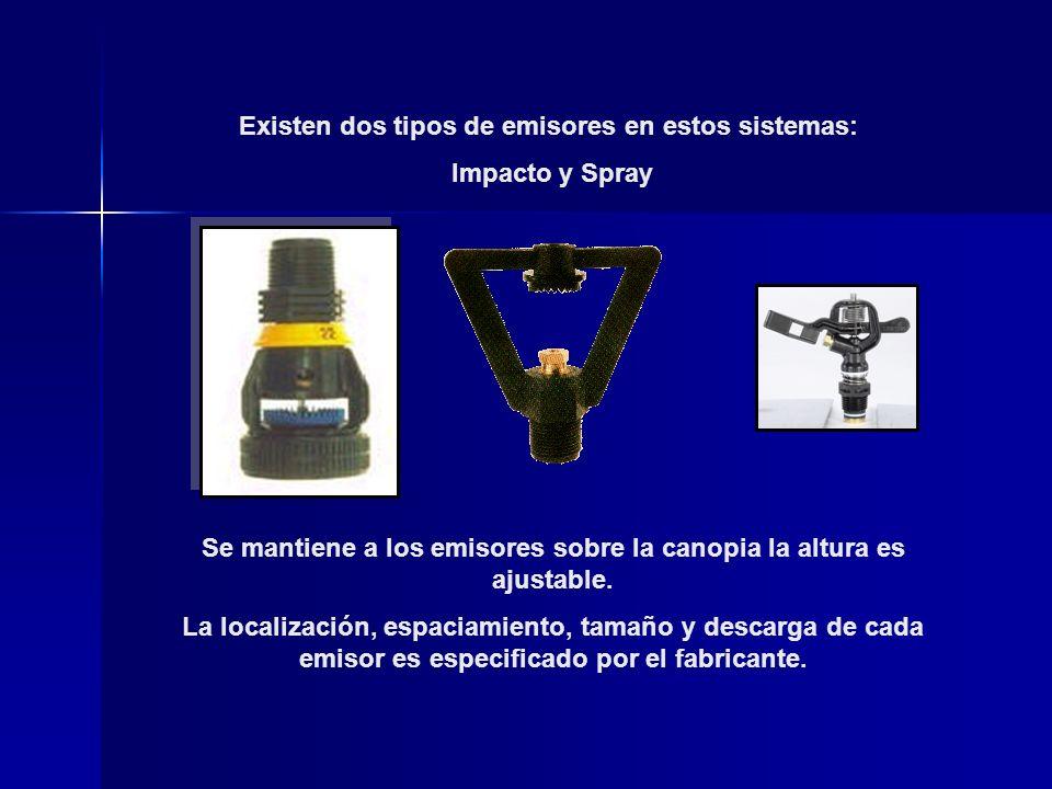 Existen dos tipos de emisores en estos sistemas: Impacto y Spray