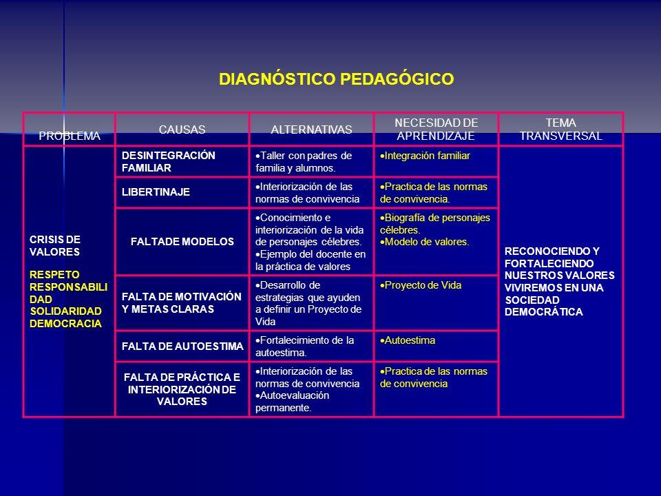 DIAGNÓSTICO PEDAGÓGICO FALTA DE PRÁCTICA E INTERIORIZACIÓN DE VALORES