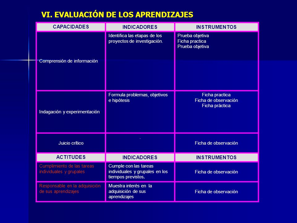 VI. EVALUACIÓN DE LOS APRENDIZAJES