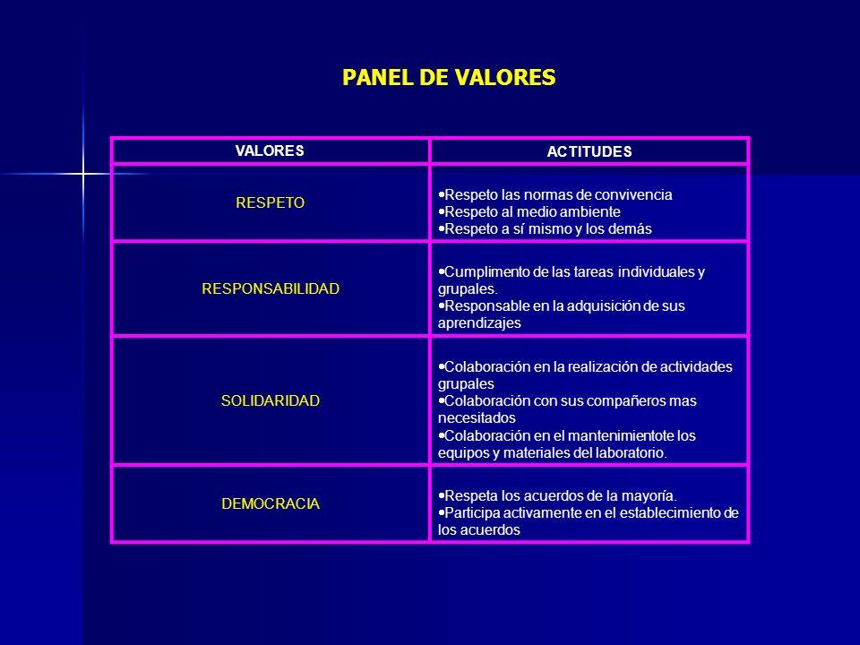 PANEL DE VALORES VALORES ACTITUDES RESPETO