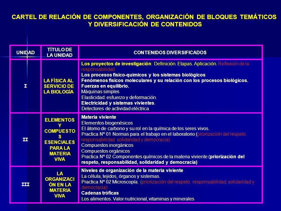 CARTEL DE RELACIÓN DE COMPONENTES, ORGANIZACIÓN DE BLOQUES TEMÁTICOS