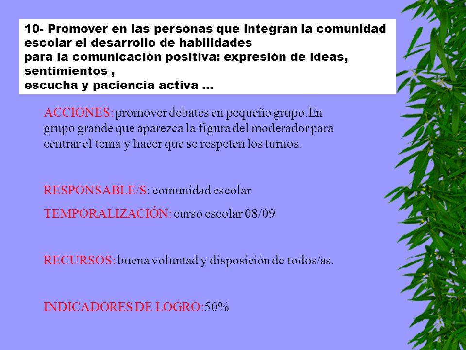 RESPONSABLE/S: comunidad escolar TEMPORALIZACIÓN: curso escolar 08/09