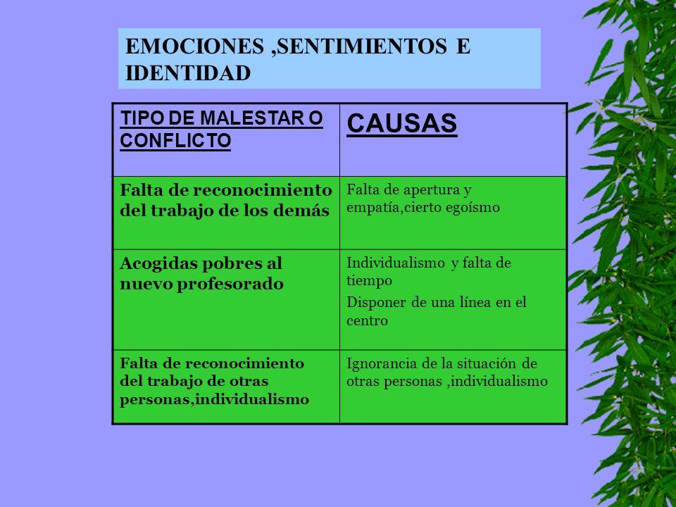 CAUSAS EMOCIONES ,SENTIMIENTOS E IDENTIDAD
