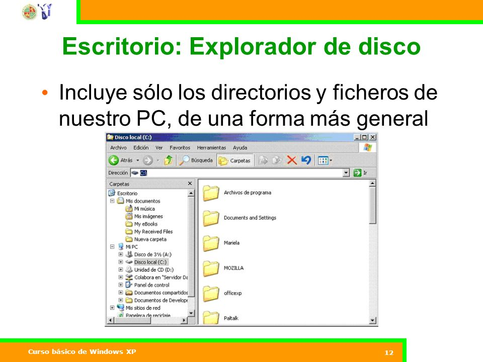 Escritorio: Explorador de disco