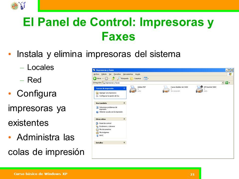 El Panel de Control: Impresoras y Faxes
