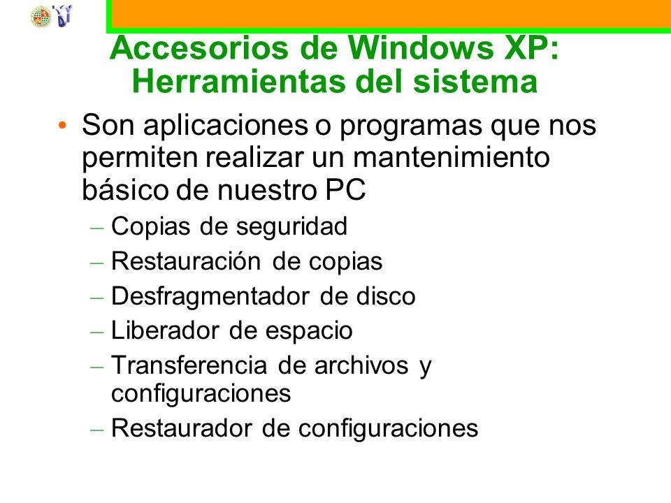 Accesorios de Windows XP: Herramientas del sistema