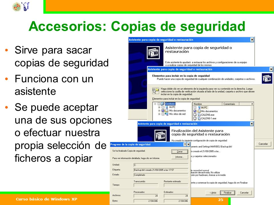 Accesorios: Copias de seguridad