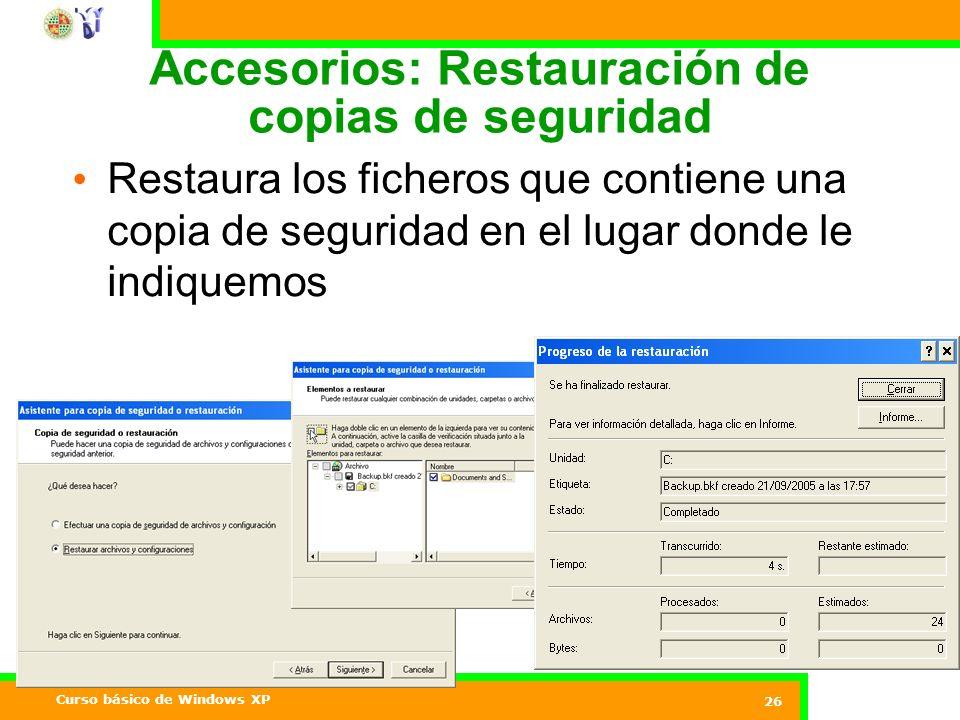 Accesorios: Restauración de copias de seguridad