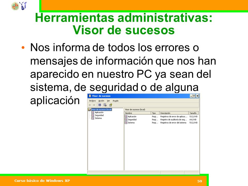 Herramientas administrativas: Visor de sucesos