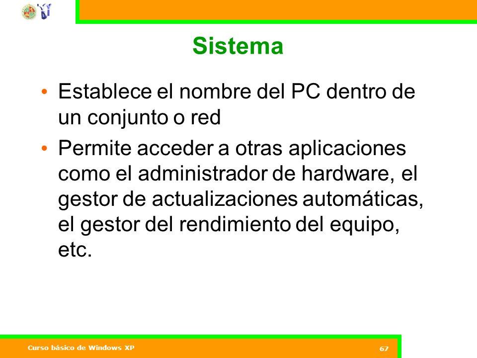 Sistema Establece el nombre del PC dentro de un conjunto o red