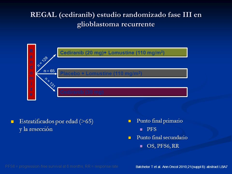 REGAL (cediranib) estudio randomizado fase III en glioblastoma recurrente