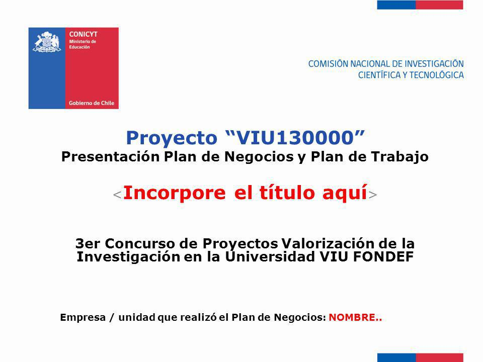 Presentación Plan de Negocios y Plan de Trabajo