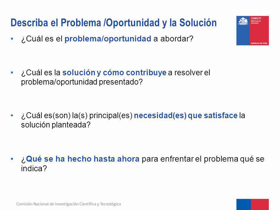 Describa el Problema /Oportunidad y la Solución