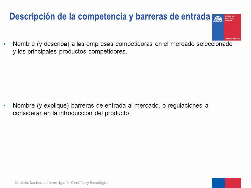 Descripción de la competencia y barreras de entrada