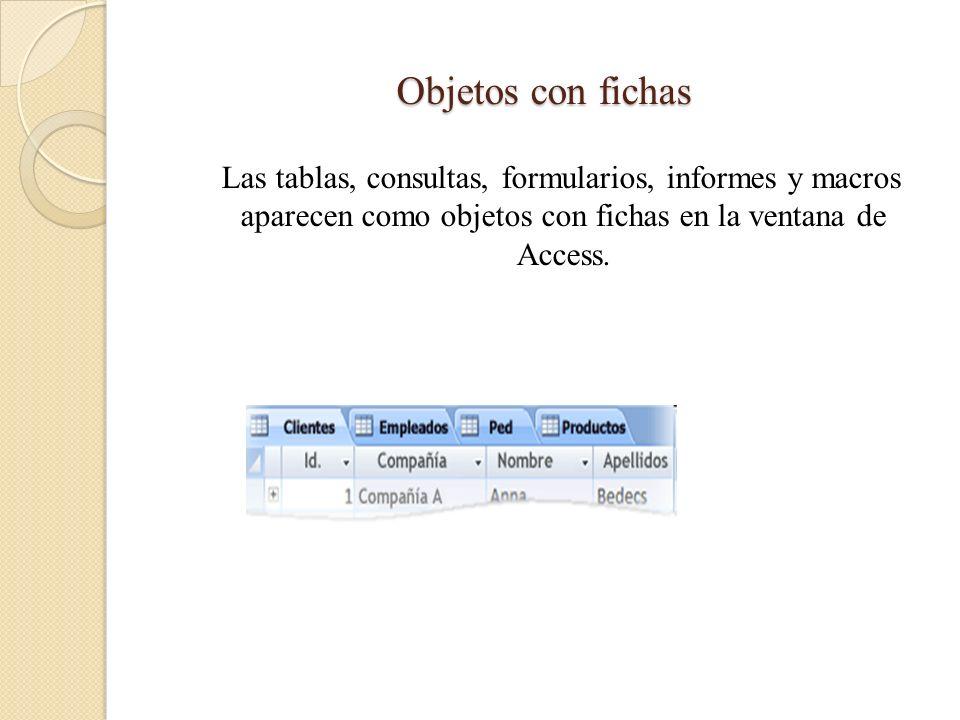 Objetos con fichas Las tablas, consultas, formularios, informes y macros aparecen como objetos con fichas en la ventana de Access.