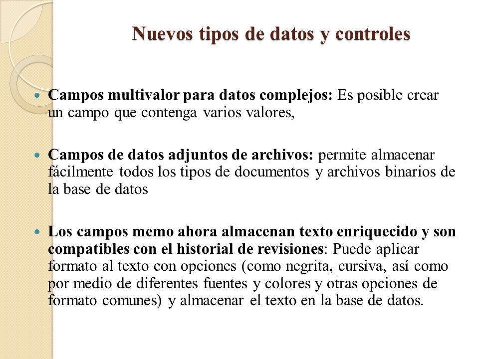 Nuevos tipos de datos y controles