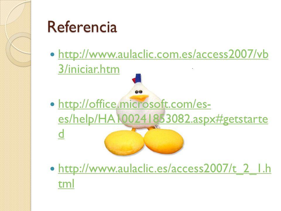Referencia http://www.aulaclic.com.es/access2007/vb 3/iniciar.htm