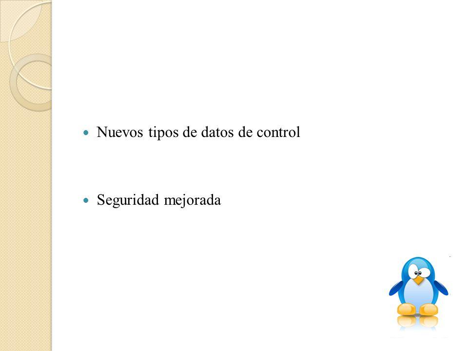 Nuevos tipos de datos de control