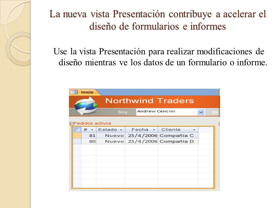 La nueva vista Presentación contribuye a acelerar el diseño de formularios e informes