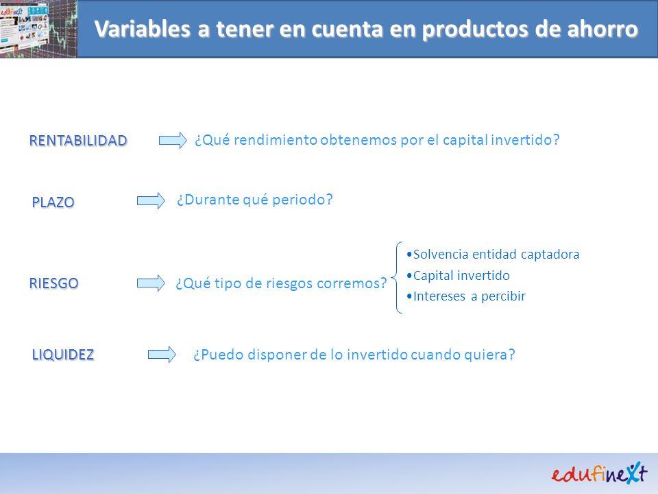 Variables a tener en cuenta en productos de ahorro