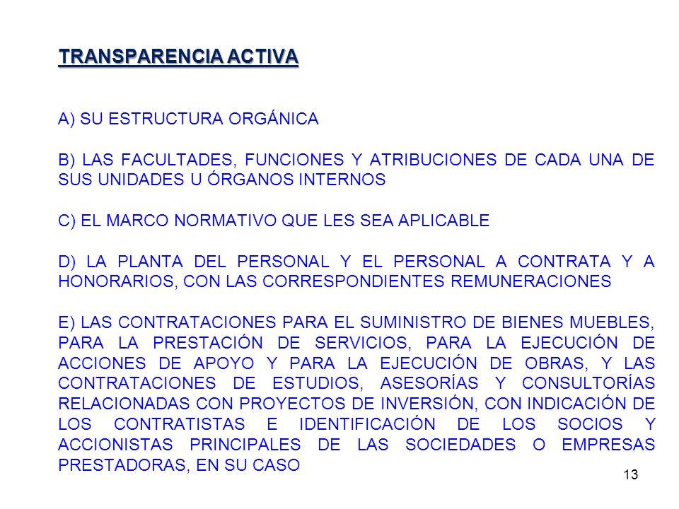 TRANSPARENCIA ACTIVA A) SU ESTRUCTURA ORGÁNICA