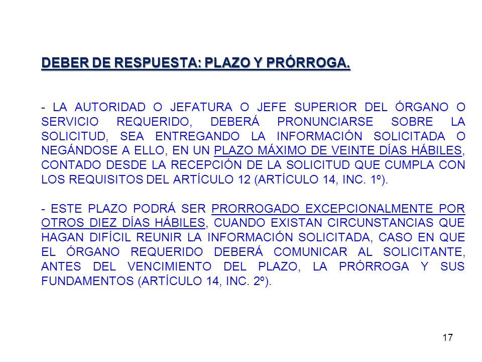 DEBER DE RESPUESTA: PLAZO Y PRÓRROGA.