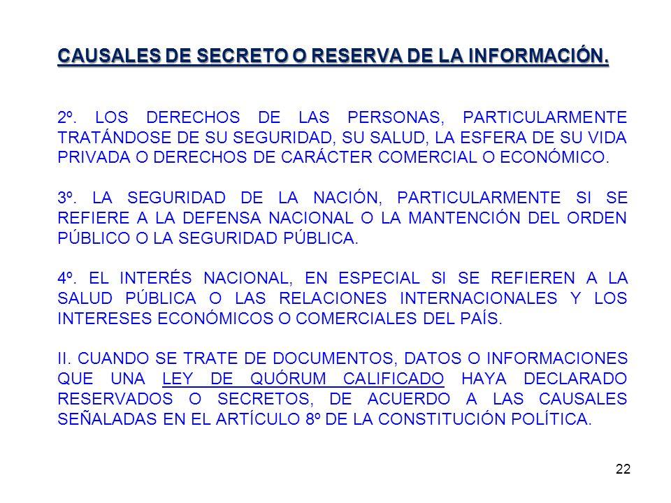 CAUSALES DE SECRETO O RESERVA DE LA INFORMACIÓN.