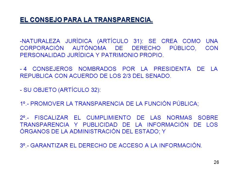 EL CONSEJO PARA LA TRANSPARENCIA.